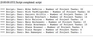 Background Script Output
