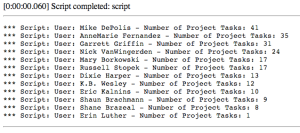 Background Script Results